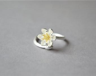 Sterling silver lotus ring, 925 water lily ring, adjustable ring, elegant gift for women (J46)