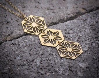 Geometric necklace, hexagon necklace, hexagonal necklace, long necklace, unique necklace, everyday necklace, dainty necklace, gift for her.