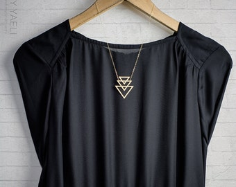 Geometric necklace, triangle necklace, goldfilled necklace, gift for her, unique necklace, triangular necklace, gold necklace.