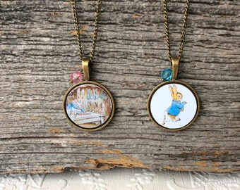 Easter Bunny Rabbit pendant gift for kids toddlers girls teens Mom Tale of Peter Rabbit Beatrix Potter storybook classic novel birthday gift