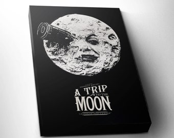 A Trip to the Moon Christmas Gift Canvas, Classic Film, Vintage Movie,Georges Méliès, Wall Decor, FREE SHIPPING