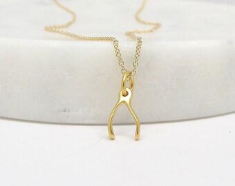 Mini Wishbone Charm Necklace - Gold Wishbone Necklace - Silver Wishbone Necklace