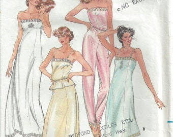 1980s Lingerie Strapless Slip Evening Length Maxi Half Slip Pants Liner Princess Seams Butterick 3434 Size 12 Bust 34 Vintage Sewing Pattern