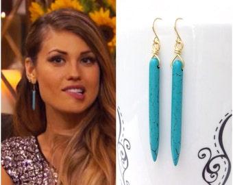 "Turquoise Earrings, Turquoise Spike Earrings, Bachelor ""Britt"" Earrings, Turquoise Howlite Drop Earrings, Britt Bachelor Bachelorette"