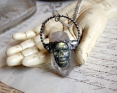 LABRADORITE skull and QUARTZ point necklace pendant, gemstone jewelry, crystal pendant, magic, labradorite, wiccan necklace, morbid