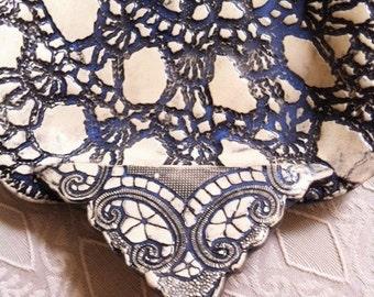 Handmade Ceramic Soap Dish With A Black Lace Design