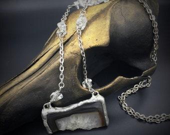 Agate Slice Necklace   Soldered Pendant