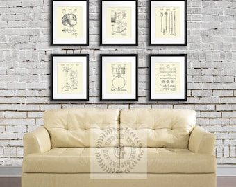 Vintage Drums Patent Art Prints Cream Wall Art set of 6 patent art prints, Gift for Drummer, Gift for Musician, Music Studio Wall Decor