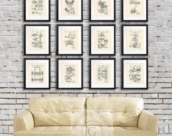 Willys Jeep wall art Decor World War II Era Military Transport Vehicle Patents set of 12 cream prints, Military gifts, Jeep girl gift