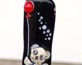 Bear bead, teddy bear lampwork glass bead, pendant focal bead, black white red artisan lampwork bead jewelry making cute handmade bead sra