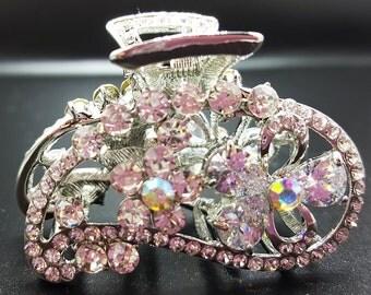 New Bridal Silver & CZ  Rhinestone Swirl Crystal Silver 1 1/2'' Hair Claw Clip