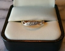 Vintage 18KT HGE ESPO Yellow Gold Plated Swirl Style Band with Clear Rhinestones Ring, Size 8