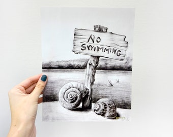 Digital Giclee Art Print / Surreal Snails Swimming Skinny Dipping / 8 x 10 11 x 14 16 x 20 Charcoal Drawing / Wall Art Decor