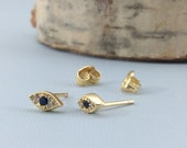 Pavé Evil Eye Post Earring, Sterling Silver, Vermeil (#1341)