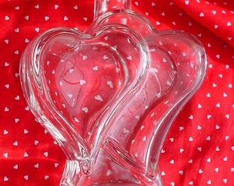 Vintage Double Heart Glass Bud Vase; Valentine's Day Flower Vase; Mother's Day Gift;  Two hearts Wedding Decor; Corazon