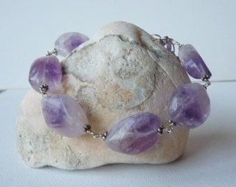 Large Sterling Silver and Fluorite Bracelet, Handmade Fluorite Bracelet,Purple Bracelet Big Genuine Stones Jewelry, Chunky Gemstone Bracelet