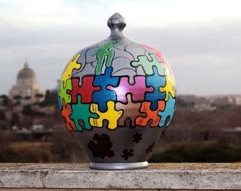 terracotta hand painted money box
