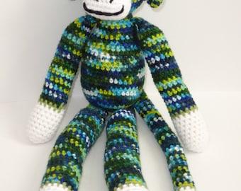 Crochet Sock Monkey, Amigurumi Sock Monkey, Crochet Stuffed Sock Monkey, Crochet Sock Monkey Doll, Plush Sock Monkey