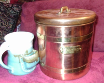 Free Shipping...Large, Copper and Brass Cookie Canister