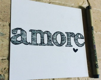 Typography : High Quality Prints of 'amore' the Italian Word for Love