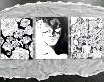 Black & White 5 postcard stationery series