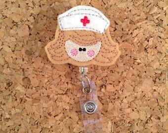 Badge Reels | Felt Nurse Badge Reel | RN Badge Reel | Badge Pull | Retractable ID Holder | Lanyard | Nurse Gift | Hospital | BROWN 927