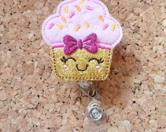 Badge Reels | GLITTER Cupcake ID Badge Reel |   | Retractable Name Holder | Nurse Teacher Office Worker Gift| PINK 650