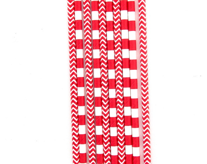 Red and White Chevron Straw With Gold Flag, Stripe Paper Straw, Gold Straw Flag, Baby Shower or Wedding Straw, Purple Chevron Straw