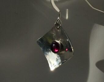 RED GARNET & SILVER Earrings-Hammered Sterling Silver-Garnet and Silver Drop Earrings-Red Garnet Jewelry