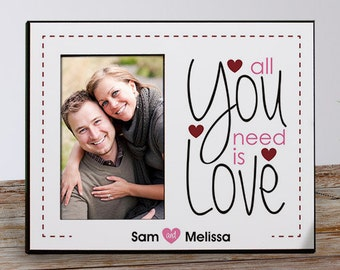 All You Need Is Love Personalized Frame, Custom Couples Picture Frame