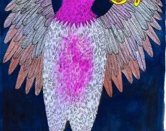 Bird & Worm - original gouache painting
