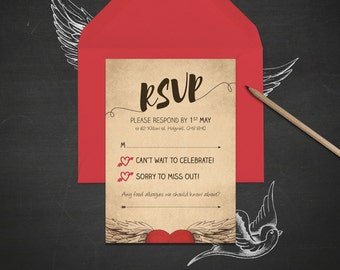 Customized Tattoo Wedding Save the Date, Invitation & RSVP (Vintage Brown)