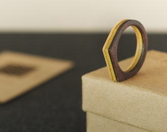 RECYCLED ring from a used purple and yellow SKATEBOARD (wood)