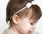 Mini Bow Headband, White Headband, White Baby Headband, Mini Felt Bows, Felt Bow Headband, Baby Felt Headband, Newborn Bow Headband,