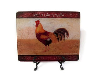 Rooster Cutting Board,Rooster Kitchen Decor, Personalized Cutting Board,  Personalized Glass Cutting Board, House Warming Gift,Kitchen Decor