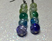 Dangle Earrings - Yellow Green and Blue Glass Crackle Beads - Free Shipping within the U.S.