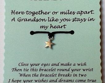 Grandson Wish Bracelet, Grandson gift, Grandson Birthday gift, Gift for Grandson, Cord Wish Bracelet, Gift for him, Grandson card, Grandson