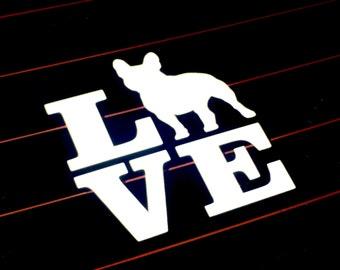 Car Decal - Custom French Bulldog Love Decal - Frenchie Vinyl Car Sticker