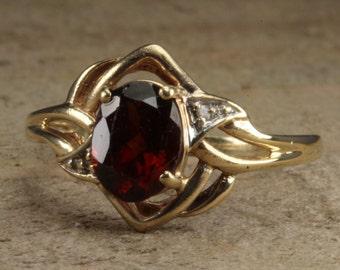 Estate, Diamond and Tourmaline 10K Yellow Gold Ring