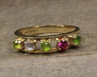 Estate, 10K Yellow Gold Rainbow Multi Stone Ring!!