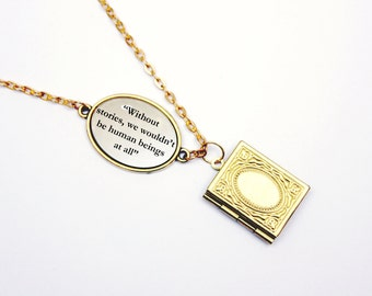 "His Dark Materials by Phillip Pullman Without Stories We Wouldn't Be Human Beings At All"" Book Quote Locket Necklace / Bracelet Library Card"