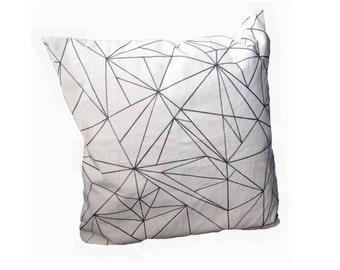 Pillow, White, Black Triangles Details, Square Decorative Pillow Case, Zipper