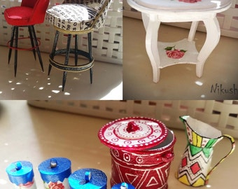 Chairs, tables, dishes for the dollhouse.