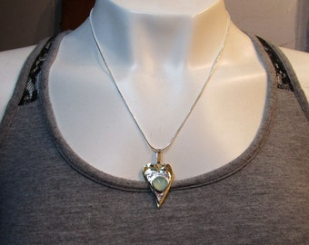 C-145 necklace silver chain with silver charm and brass with chalcedony,-free shipping