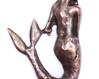 Trailer, Mermaid, copper, 45 mm, 1pc, maritim, Brown, Mermaid, woman, mermaid, pendant