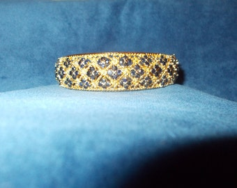 Genuine sapphire gold vermeil bangle size 6.5 through 8.00
