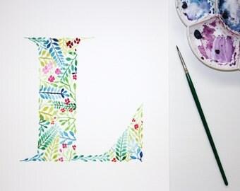 Letter L Wall Art Print, Watercolour Artwork, Hand Painted Nursery Decor, Initial Print, Letter L Watercolour Painting, Botanical Letter
