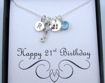 Personalized 21st Birthday Necklace With Message Card, 21st Birthday Gift, 21 Gift, Key Necklace, Sterling Silver, Initial And Birthstone