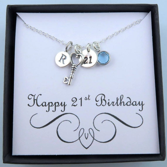 Personalized 21st Birthday Necklace With Message Card 21st
