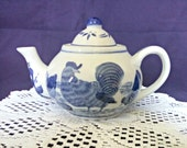 Vintage Chinese Rooster and Hen Globe Teapot, Blue and White Ceramic, 2 Cup, Bird Decor